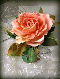 """Купить+ЦВЕТЫ+ИЗ+ФОАМИРАНА.+брошь-заколка+роза+""""Аврора""""+-+кремовый,+розовый"""