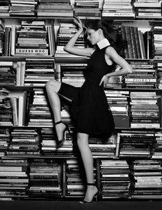 Coco Rocha with books. Photograph by Karl Lagerfeld. Impulse Only at Macy's collection. September 2011.