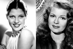 Rita Hayworth.  Lusty pin-up girl, femme-fatale and Irish/Spanish dancing queen. Rita was born Margarita Carmen Cansino. Margarita began her transition to Rita in order to give her a look that would appeal to wider audiences, Fox studio heads encouraged Rita to de-ethnicize herself, to moderate her 'foreign' look. Rita lightened her dark hair and actually underwent electrolysis to raise her hairline on her forehead.