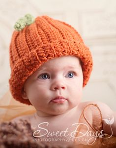Pumpkin Beanie         Great Newborn Photo Prop by EternallyHooked, $24.00