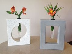 Concrete bases with test tube vase inserts. We make these in house and we can ship them! Customize with your own design. Concrete Molds, Poured Concrete, Concrete Crafts, Concrete Projects, Concrete Planters, Cement Art, Concrete Art, Concrete Design, Concrete Sculpture