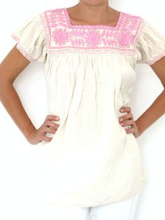Aguacatenango blouse pink on beige handmade in Chiapas, Mexico
