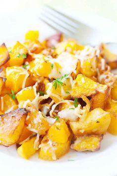 Garlic and Parmesan-Roasted Butternut Squash
