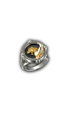 Ring Ishtar Gate Small SO 1665.4     Yellow Gold 18KT, Diamonds,Onix and Silver #Magerit #BabylonCollection #jewels