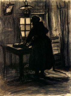 Woman Cutting Bread by Vincent van Gogh Medium: chalk, ink on paper