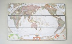 Made by my husband!  Custom made wood map.  Perfect for a nursery, office or living room.. $225.00, via Etsy.
