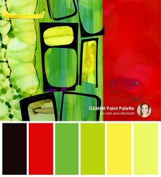 Modern colour palette from the original art by Jane Monteith