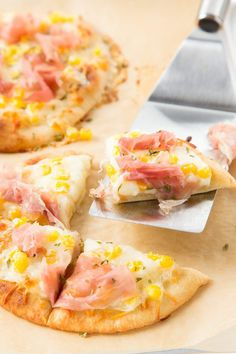 Mini Naan Pizza with Corn and Prosciutto