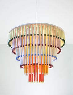 The Cocktail Pendant Lamp Design by Hanna Anonen for Hakola The Cocktail pendant by Hakola is a colourful, cheery take on the traditional chandelier, inspired by fizzy drinks and delicious layered… Diy Pendant Light, Pendant Light Fixtures, Pendant Lighting, Pendant Lamps, Pendants, Pierre Marie, Architecture Restaurant, Deco Luminaire, Milan Furniture