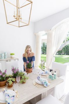 """Celebrating """"Plant Something Day"""" with Mrs. Meyer's Clean Day Fashionable Hostess, Cleaning Day, Patio, Table Decorations, Celebrities, Plants, Furniture, Mom, Kitchen"""
