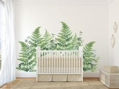 Green Fern & Eucalyptus Cluster Wall Decals - Free Domestic Shipping Over $99 USD. Each order includes Fern wall decals in total. Order today from UrbanWalls.