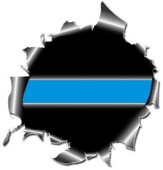 Thin Blue Line Bullet Hole Ripped Metal Decal #147