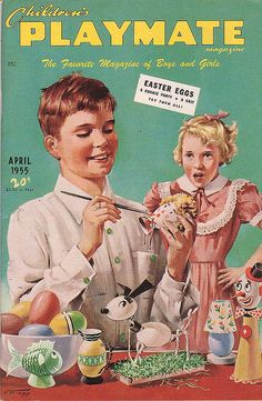 Painting Easter Eggs - Children's Playmate Magazine, April 1955 via froggyboggler Old Magazines, Vintage Magazines, Retro Ads, Vintage Advertisements, Journal Vintage, Baby Boomer, Old Ads, Vintage Easter, Vintage Cards
