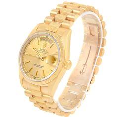 16175 Rolex Day-Date President 18k Yellow Gold Bark Finish Mens Watch 18248 SwissWatchExpo