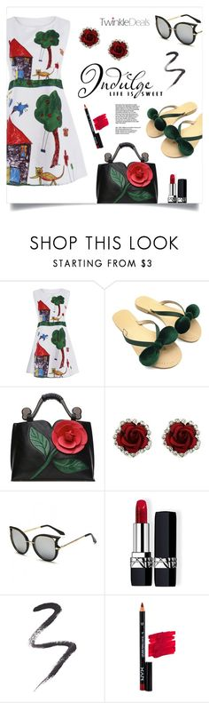 """""""Funny Dress"""" by mahafromkailash ❤ liked on Polyvore featuring WALL, Christian Dior, Topshop and NYX"""