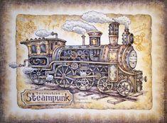 """Картина в раме """"Стимпанк-Паровоз"""" ретро коричневый черный – купить в интернет-магазине на Ярмарке Мастеров с доставкой Art Steampunk, Steampunk Images, Steampunk Crafts, Steampunk Wedding, Vintage Cards, Vintage Images, 3d Paper Crafts, Scrapbook Templates, Graphic 45"""