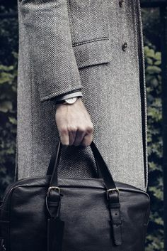 Herringbone Coat and Leather Briefcase w/ Zip by Dunhill