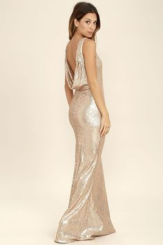 Slink and Wink Matte Rose Gold Sequin Maxi Dress ab0d9b404b28