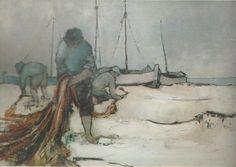 Mario Lupo, Pescatori, 1966,  olio su tela, 80 x 60 cm, San Benedetto del Tronto