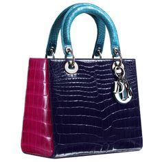 "Sac ""Lady Dior"" crocodile tricolore Saphir, Fuchsia et Turquoise"