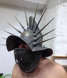 Gladiator Helmet ReplicaAncient Mask by BirdArtBulgaria on Etsy Armor All, Sci Fi Armor, Arm Armor, Custom Motorcycle Helmets, Women Motorcycle, Gladiator Helmet, Roman Armor, Army Helmet, Armadura Medieval