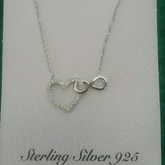 Heart&infinity necklace Stamped 925 with CZ stones. Brand new. Jewelry Necklaces