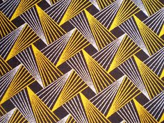 Retro Flash In Yellow And Brown – Original South African ShweShwe Designer Fabric – 100 % Cotton – 2019 - Fabric Diy Motifs Textiles, Textile Prints, Textile Patterns, Graphic Patterns, Geometric Patterns, Fabric Design, Pattern Design, Retro Pattern, African Textiles
