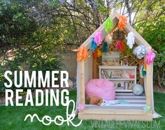 Summer Reading Nook/Outdoor Hideaway Building Plans- Vintage Revivals is the best! This would be so much better than a plastic house that the kids will outgrow. Outdoor Reading Nooks, Reading Nook Kids, Outdoor Projects, Diy Projects, Build A Playhouse, Diy Easy Playhouse, Backyard Playhouse, Splash Pad, Backyard Games