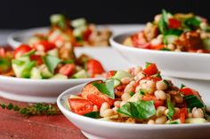 This take on the classic Tuscan bread and tomato salad includes white beans for hearty texture and protein, turning it into a main-course option. Vegetarian Main Dishes, Vegetarian Recipes, Cooking Recipes, Healthy Recipes, Delicious Recipes, Ellies Real Good Food, Great Northern Beans, White Beans, Meatless Monday