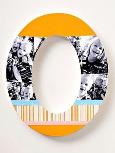 big/little crafting ~ how about a letter(s) decorated with photos and scrapbook paper? too cute!