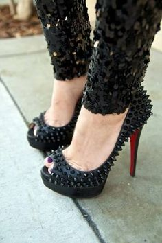 #Christian Louboutin spiked shoes. #heels