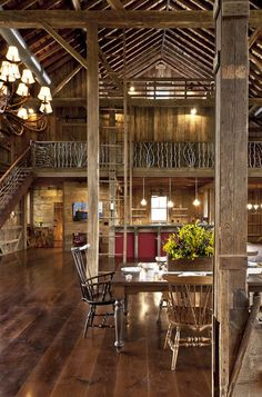 German-style Bank Barn Conversion - rustic - dining room - cleveland - by Blackburn Architects, PC Cabin Homes, Log Homes, Converted Barn Homes, Barn Style House Plans, Bank Barn, Barn Renovation, Design Apartment, Apartment Plans, Barn Living