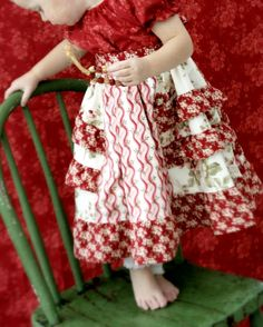 Peppermint Candy Cane Peasant Ruffle Dress. $47.00, via Etsy.