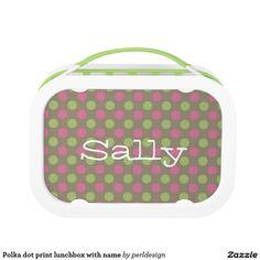 Polka dot print lunchbox with name