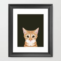Chase - Cute Cat gifts for pet lovers cat lady gifts and perfect gifts for cat person and cute tabby Framed Art Print by PetFriendly - $33.00
