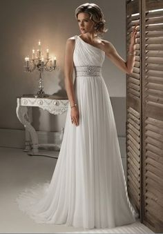 Chiffon One-Shoulder Column Elegant Wedding Dress