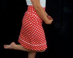 Red and white polka dot high waisted skirt, high waisted custom size i think i like this one most