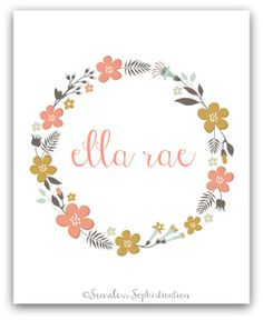 Personalized Name Print  / Floral Wreath / Nursery / by emilyhatch, $10.00