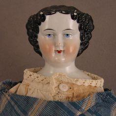 "19"" c.1860s German Flat Top Original China Head Doll"