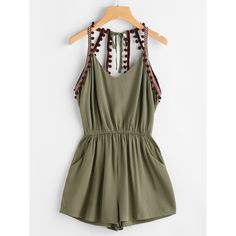 Shop Embroidered Taped Pompom Trim Open Back Romper online. SheIn offers Embroidered Taped Pompom Trim Open Back Romper & more to fit your fashionable needs. Cute Summer Outfits, Trendy Outfits, Cute Outfits, Fashion Outfits, Girly Outfits, Fashion Trends, Mode Rockabilly, Playsuit Romper, Red Romper