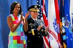 All Patched Up  On April 20, 3012, Michelle Obama attended the opening ceremony for the 2012 Warrior Games, a sports competition hosted by the U.S. Olympic Committee for wounded members of the armed forces. She chose a bright, color-blocked for the occasion