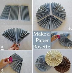 how to make a paper rosette, apparently gold cardstock doesn't work we can find something similar