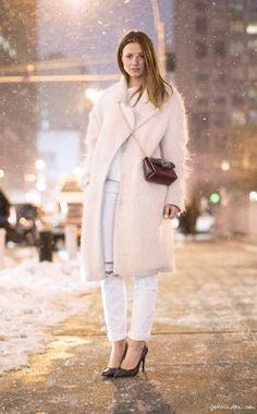 cream coat + white jean + black chanel bag