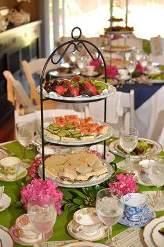 Tea party menu, each table has own food
