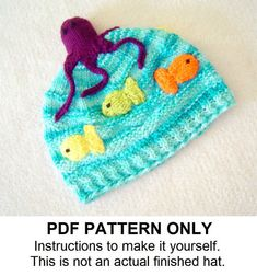 Knit Hat Knitting Pattern - Octopus Hat Pattern - Knit Hat Pattern - the OLLIE Hat (Newborn Baby Toddler Child & Adult sizes incl'd)