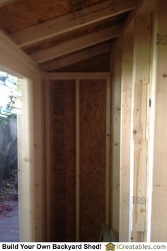 Interior framing for roof and walls of lean to shed design Backyard Storage Sheds, Diy Storage Shed, Diy Shed, Shed House Plans, Lean To Shed Plans, Prefabricated Sheds, Shed Construction, Outdoor Buildings, Simple Shed