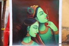 Paintings and Art Exhibition - Chitra Santhe Mysore 2015 ~ Happiest Ladies Radha Krishna Pictures, Krishna Art, Radhe Krishna, Lord Krishna, Shree Krishna, Hanuman, Indian Art Paintings, Modern Art Paintings, Acrylic Paintings