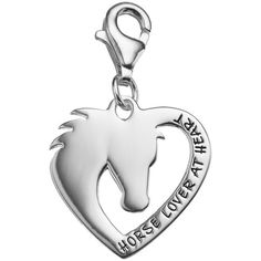 """personal charm Sterling Silver """"Horse Lover at Heart"""" Charm ($40) ❤ liked on Polyvore featuring jewelry, pendants, silver, heart shaped jewelry, horse jewelry, lobster claw clasp charms, sterling silver jewelry and heart charm"""