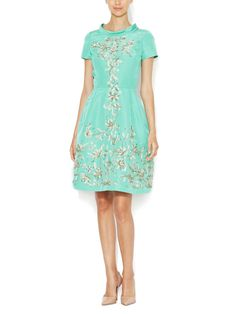 Silk Faille Embellished Sequin Dress Oscar de la Renta mint green