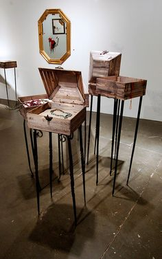 """Display cases, Katie Poterala MFA thesis exhibition """"Decadence + Decay"""" 2012"""